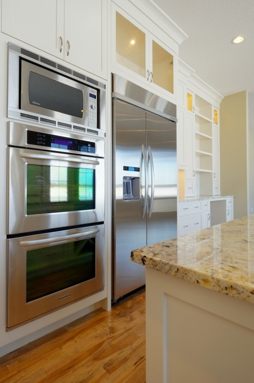 double oven w microwave on top Kitchens
