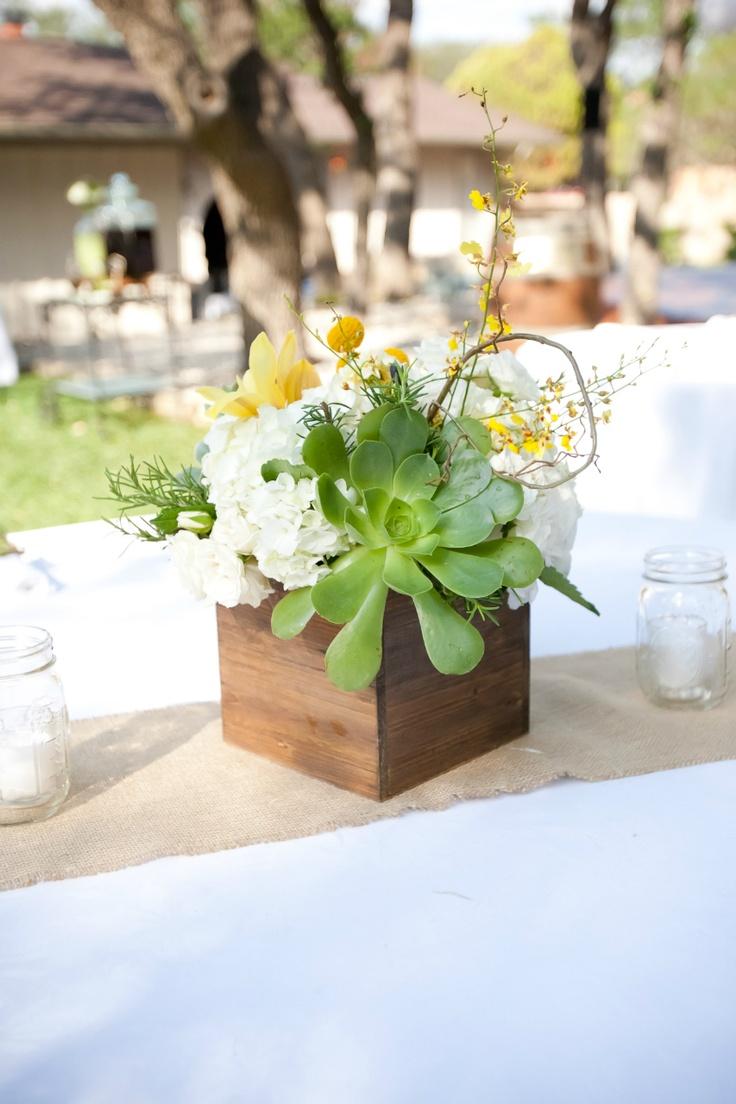 Succulent centerpiece our desination wedding