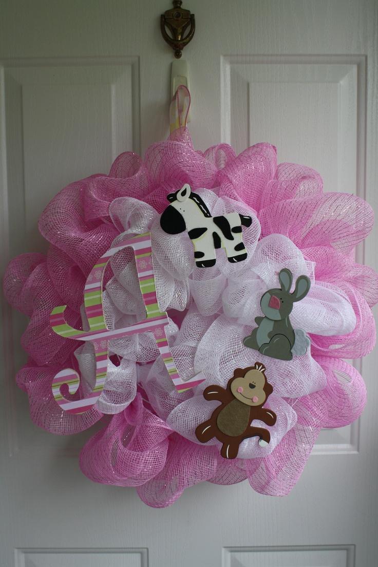 deco mesh wreath for a baby shower wreaths pinterest
