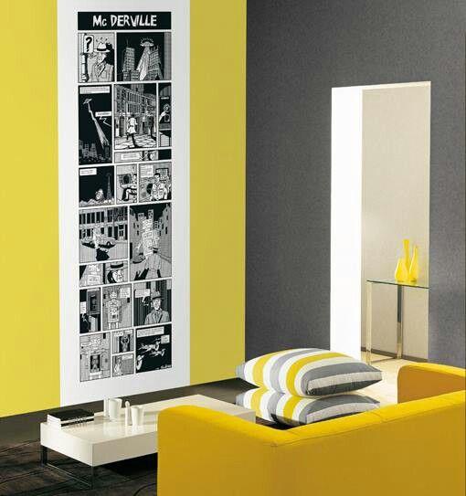 Sala gris y amarillaSalas  Pinterest