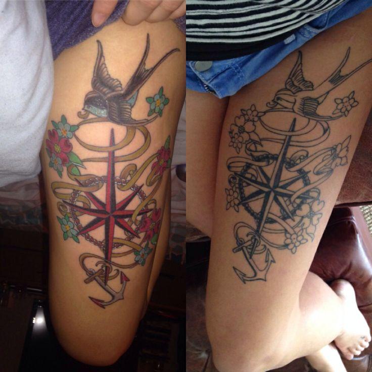 My Nautical tattoo Anchor Compass Girly tattoo. Tattoos