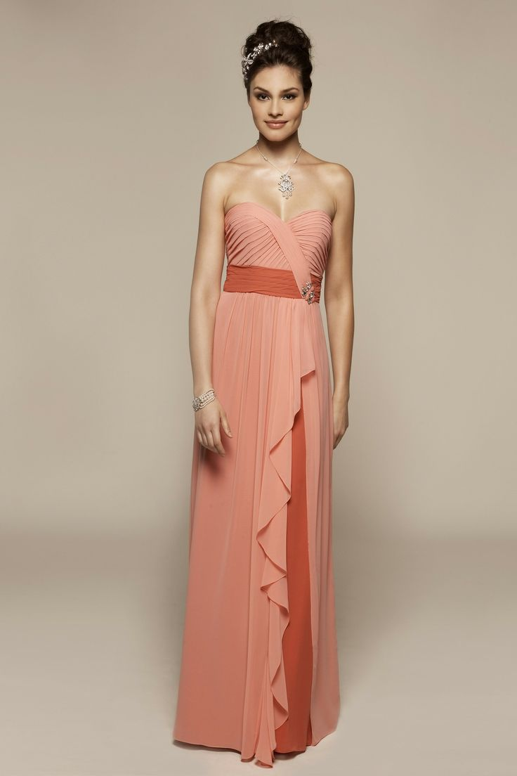 Strapless A-line chiffon bridesmaid dress