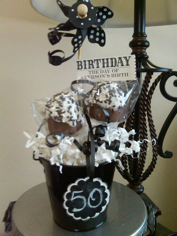 A sweet little 50th birthday cupcake pops