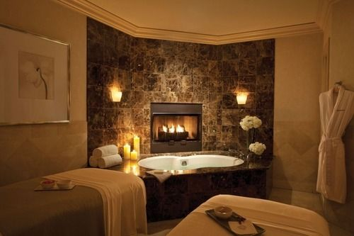 Luxury bathroom with fireplace dream house pinterest for Bathrooms with fireplaces