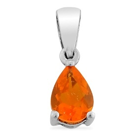 £9.99 KARIS Collection Jalisco Fire Opal (Pear) Pendant in Platinum ...