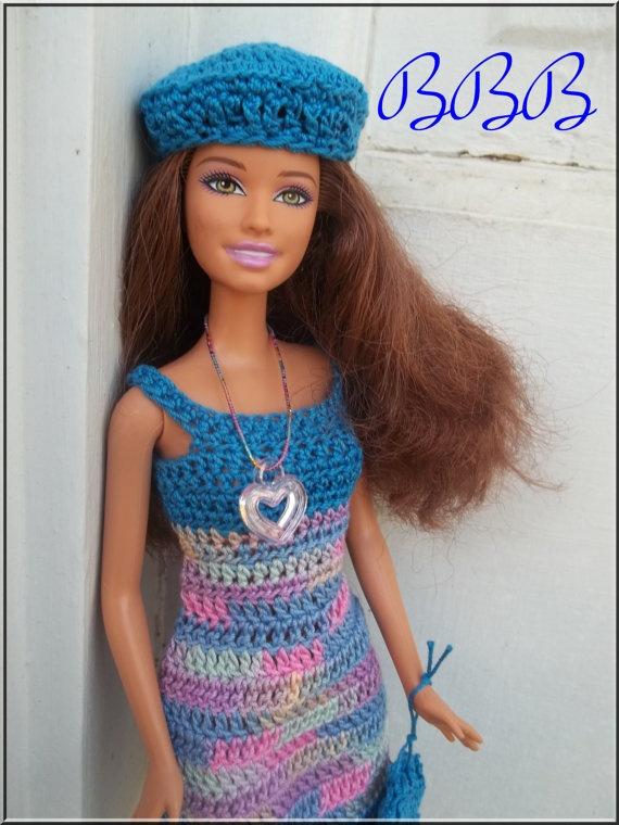 Crochet Barbie : Crochet Barbie Clothes Blue Spaghetti Strap Dress Beret Hat Purse Nec ...