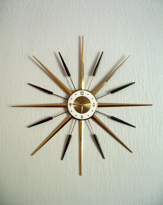 mid century modern roxhall starburst wall clock
