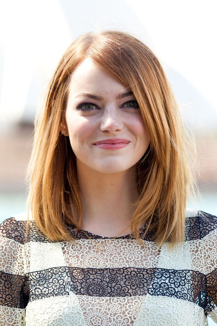 Emma Stone: Emma's gorgeous red bob is all one length with long layers, making it the ultimate easy, wash-and-go style.