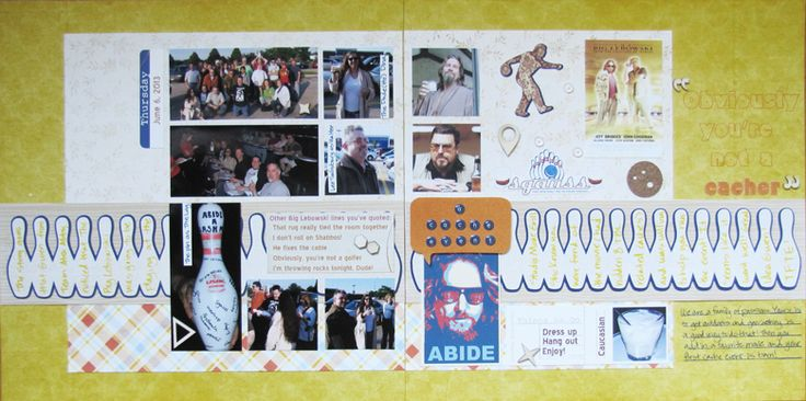 "Double page LO about a geocaching event my hubby held. It centered around ""The Big Lebowski"" and it was fun to include cuts from SVGs created by The Creative Pointe, including the bowling pin border . I am entering this LO into the StuckOnUSketches August 23 Die Cut Challenge~ Use a Border! NO punches! http://stuckonusketches.blogspot.com/2013/08/august-23-die-cut-challenge-use-border.html and I will have details on my blog starting on Monday, 9/9. TFL!"
