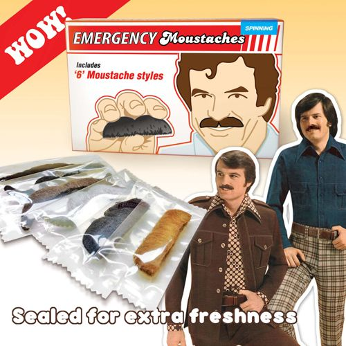 Emergency Moustaches.  Never leave home w/out em!    http://www.perpetualkid.com/emergency-moustaches.aspx
