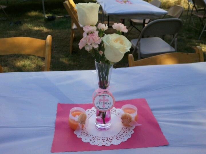 Flower vase centerpiece for girl baptism centerpieces pinterest - Baptism centerpieces girl ...