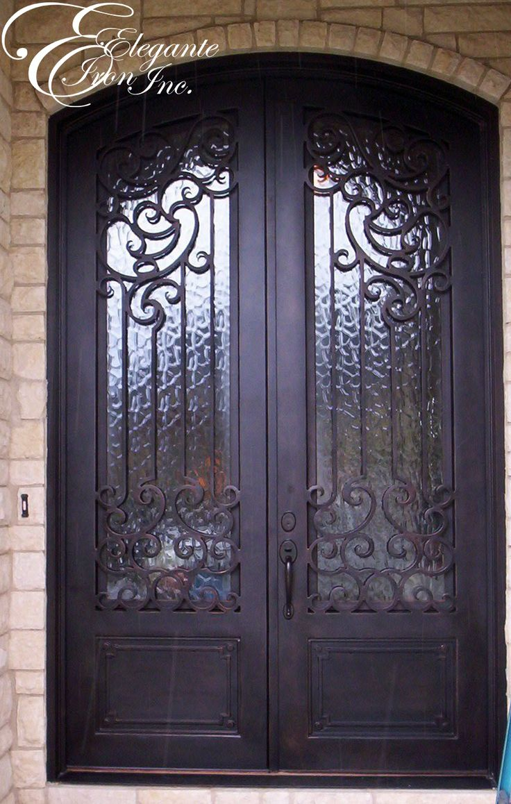 Custom wrought iron front door double doors pinterest for Decorative entrance doors