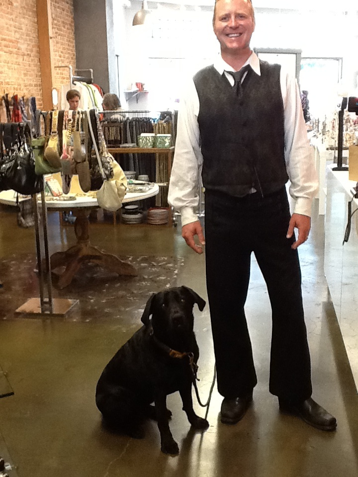 Stefan, from The Ranch hair salon across the street, wearing his new G tie! At Georgi & Willow, San Anselmo, CA.