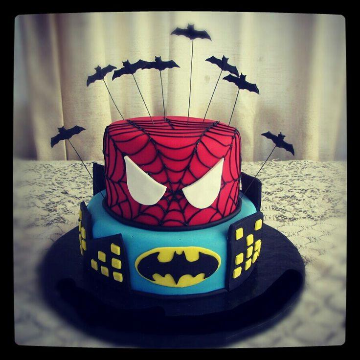 spiderman and batman cake