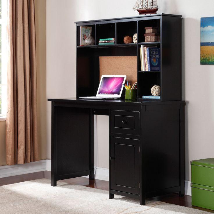 piper desk with optional hutch set black www. Black Bedroom Furniture Sets. Home Design Ideas