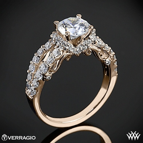 20k Rose Gold Verragio 4 Prong Pave Wrap Diamond Engagement Ring