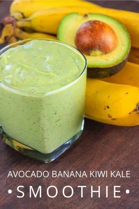 Avocado Banana Kiwi Kale Smoothie | Smoothies And Nutritious Drinks ...