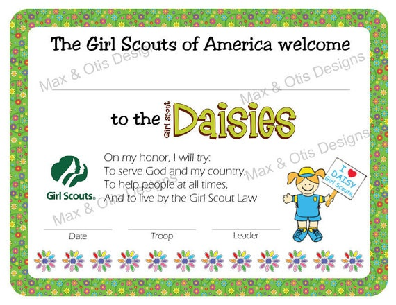 Welcome to Daisy Girl Scouts certificate