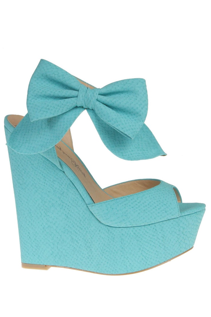turquoise bow wedges penny loves kenny shoes