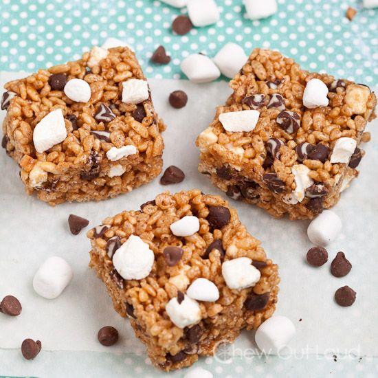 mores Peanut Butter Crispy Bars. No-Bake! Super easy. Semi-healthy ...