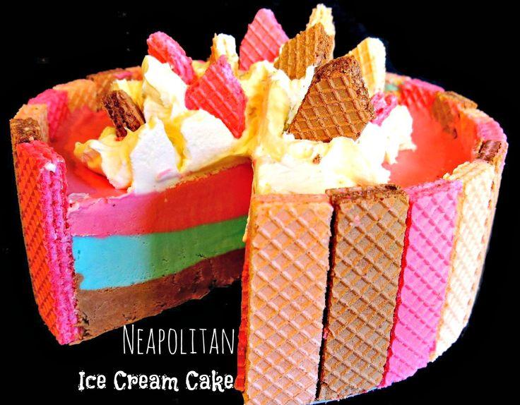 Neapolitan Ice Cream Cake. #icecreamcake | so creative | Pinterest