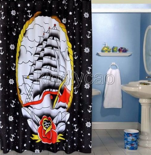 ... Black White Sailboat Bathroom Fabric Shower Curtain KA057 E 3 | eBay
