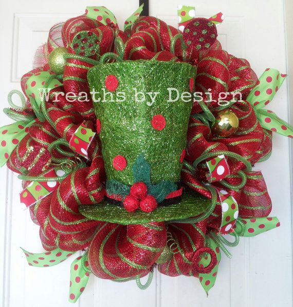 Light up christmas top hat wreath by wreathsbydesign1 on etsy 95 00