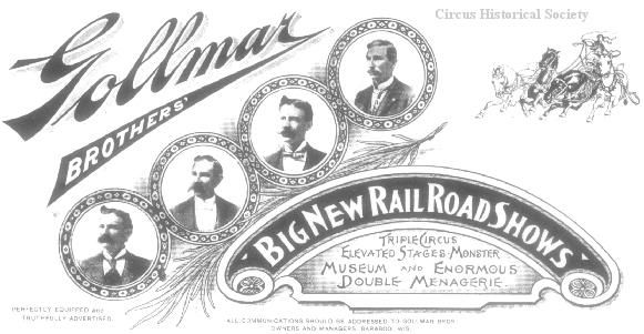 "One of the most attractive letterheads ever used by the Gollmar Bros. Circus, is the above design, dated 1903. It is all in royal blue, except for the photos of the Gollmars, which are in brown. ""Chalmer Condon's Letterheads,"" Bandwagon, Vol. 8, No. 3 (May-Jun), 1964, p. 10."