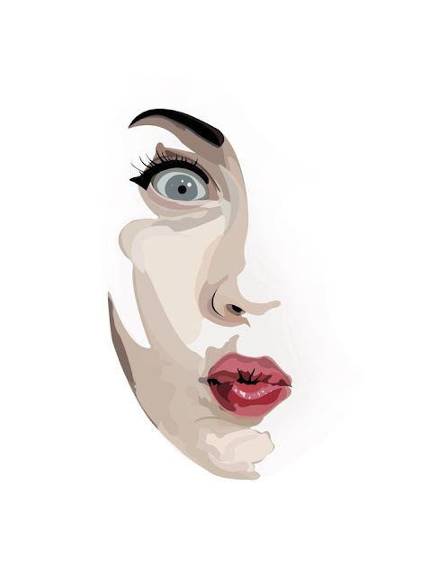 Fashion illustration face profile