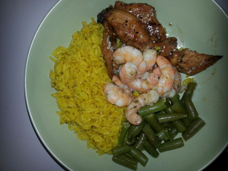 ... butter shrimp, sesame ginger chicken and cut green beans.....Yum