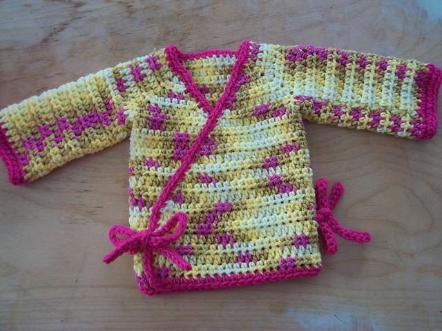 Crochet Kimono Wrap Baby Sweater pattern by Kylie Marie Brown