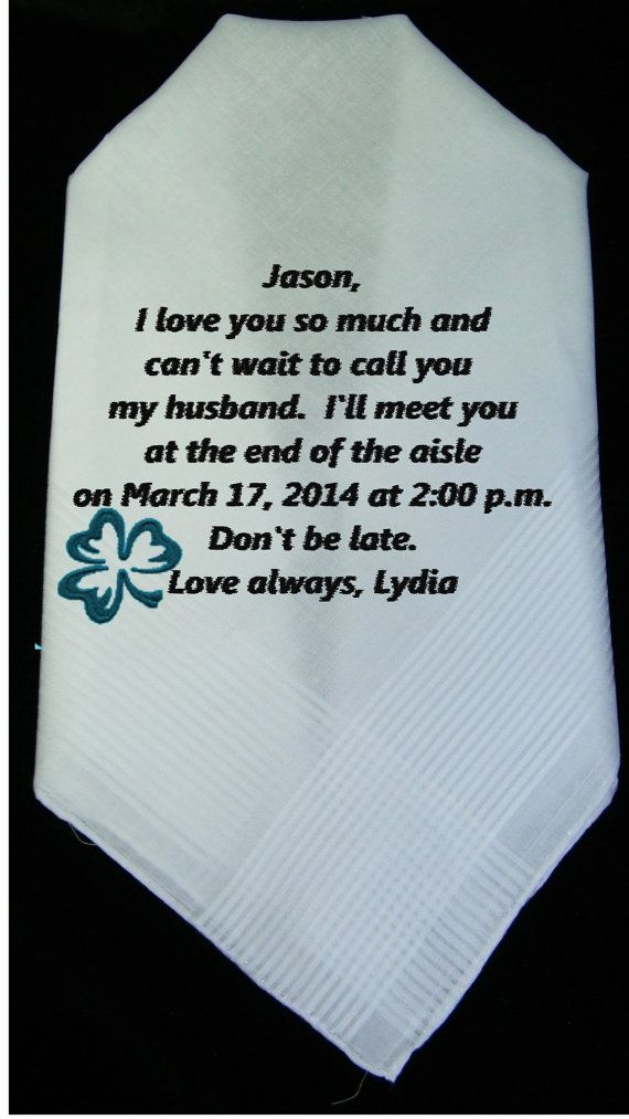 Gift For Bride From Groom Before Wedding : ... Embroidered Gift to Groom from Bride Before the Wedding Day