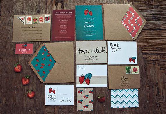 Strawberry Patch Wedding invitation Suite DEPOSIT