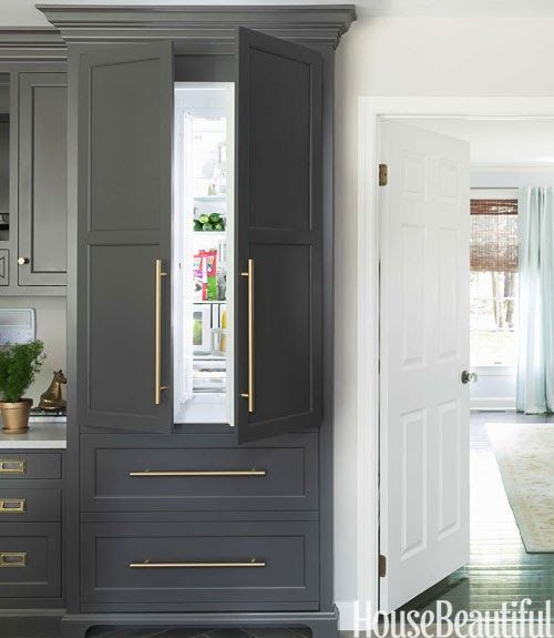 Grey cabinets and gold drawer pulls!  kitchens  Pinterest