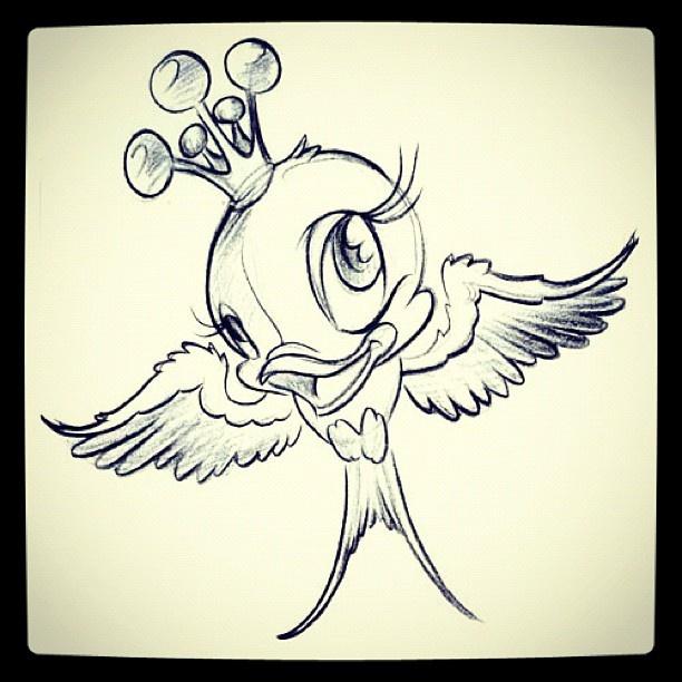 Love bird tattoo outline