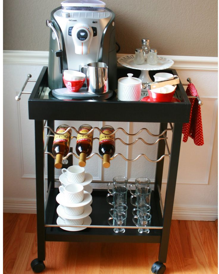 Espresso station from bar cart awesome the heart of for Coffee cart for home
