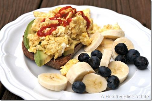 Toast with avocado, scrambled eggs and sriracha with blueberries and ...
