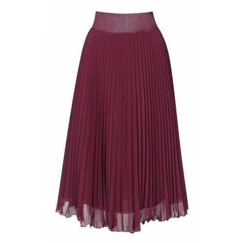burgundy pleated midi skirt my favourite colour