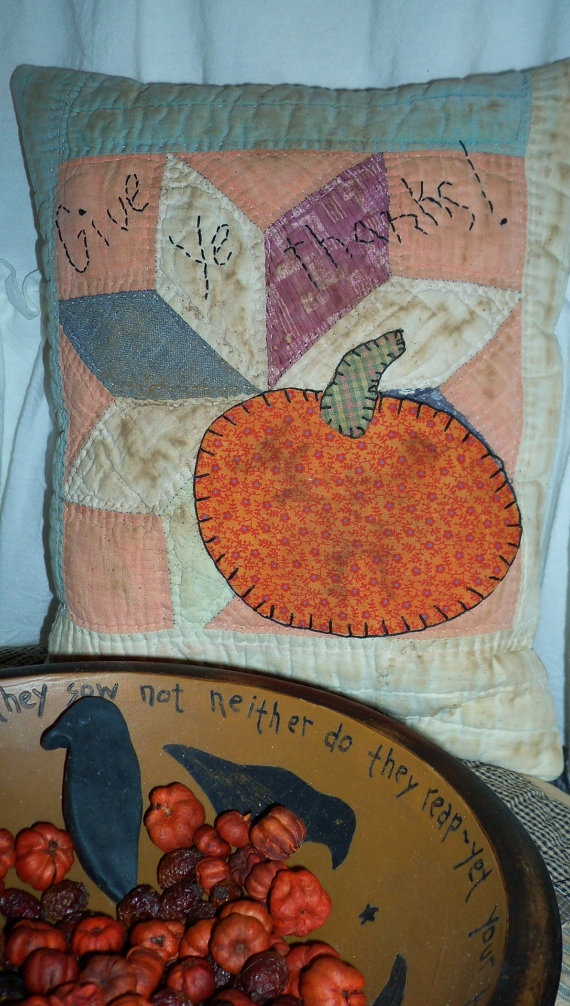 Cutter Quilt Pumpkin Pillow by 4theluvofprimitives on Etsy, $10.00
