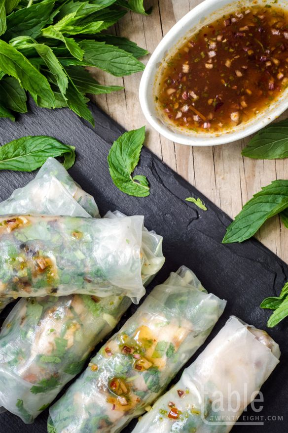 rice paper rolls with grilled lemongrass chicken | table twenty eight
