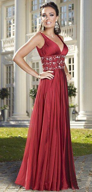 red/garnet gown