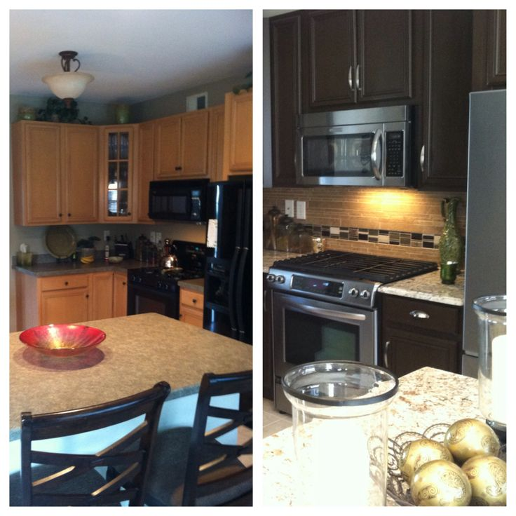 updated kitchen  Rustoleum cabinet transformations in chocolate