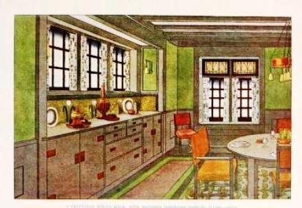 Kitchen illustration from 1909 Craftsman magazine