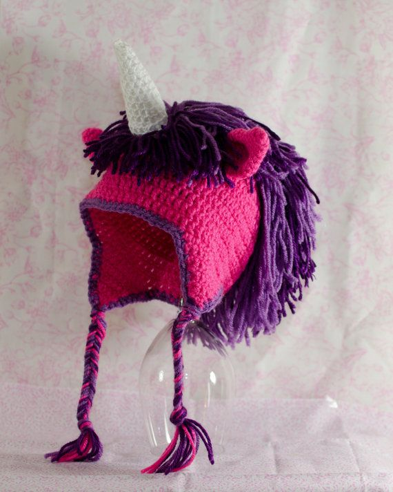 Crochet Unicorn Hat Pink and Purple by AdventuresInYarnia on Etsy Mira ...