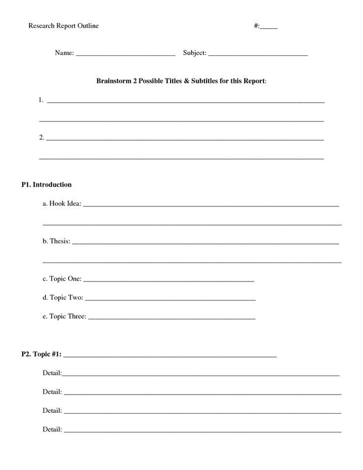 blank outline research paper