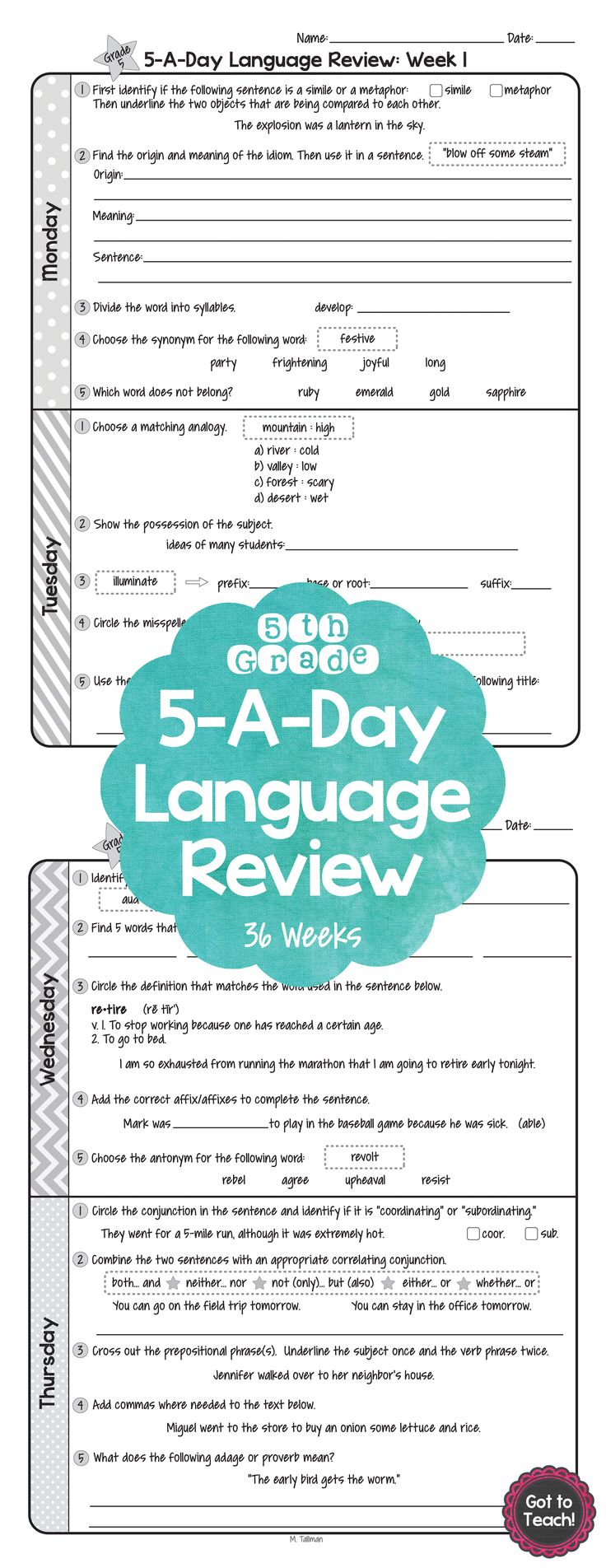36 weeks of daily Common Core language review for 5th ...