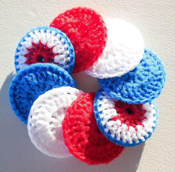 Crochet Kitchen Scrubbies : Crochet Dish Scrubbies - Set of 8 - The Patriot Collection - Nylon Po ...