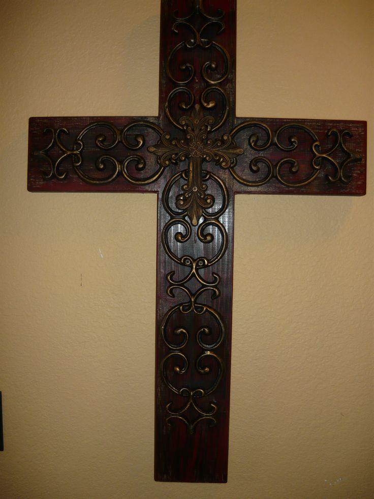 Elegant Iron Wall Decor : Wood iron wall cross original design made from scratch