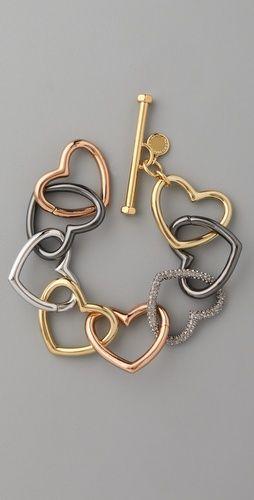 Marc by Marc Jacobs, love edge tumbled pave heart bracelet-