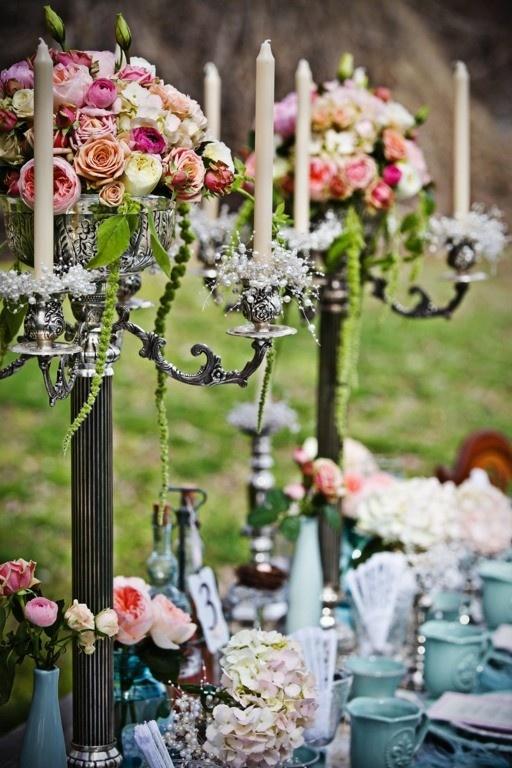 Candelabra tall centerpieces wedding pinterest